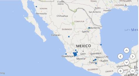 Ejemplo de mapeo de base de datos inmobiliaria sin limpiar los datos mal registrados